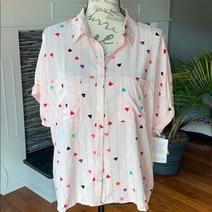 Lularoe heart and striped button down